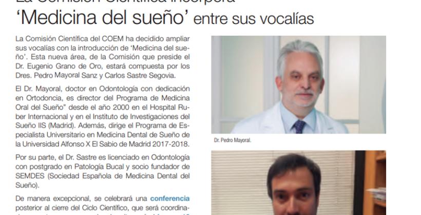 El Dr Pedro Mayoral nombrado Vocal de Medicina Dental de Sueño de la Comision Cientifica del Colegio de Odontologos y Estomatologos de Madrid COEM